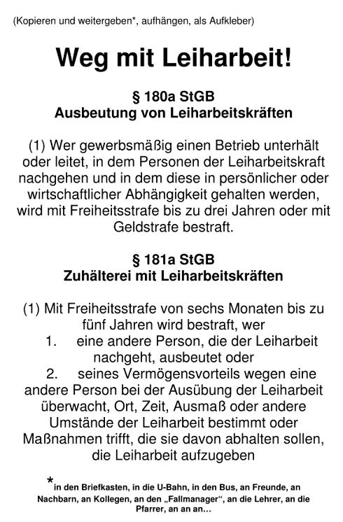 """Flugblatt """"Weg mit Leiharbeit"""" (PDF) / (Flyer & Flugblätter & Ratgeber & Broschüre)"""