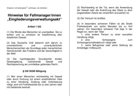 """Flugblatt """"Hinweise für Fallmanager/innen – Vorsicht beim Erlass eines Eingliederungsverwaltungsaktes!"""""""